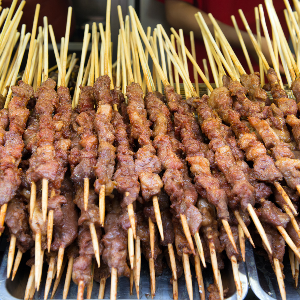 Grilled lamb meat on sticks at Wangfujing street, Beijing China